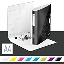 Leitz A4 Lever Arch File Active, Black, Curved spine 65mm width, Elastic fastening, Light polyfoam, WOW Range, 11070095
