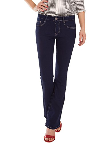 Fraternel Damen Jeans Hose Bootcut normal waist Stretch Blau M / 38 -W28 (Fit-bootcut-stretch-jeans)