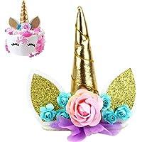 Decoración para tarta de unicornio, diseño de unicornio con purpurina y texto en inglés