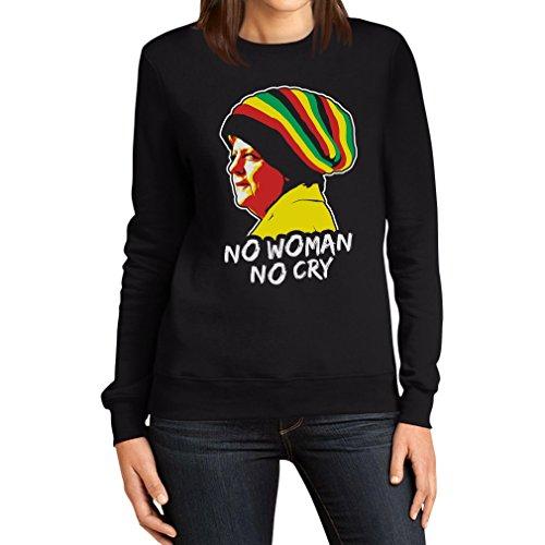 Coole Jamaika Merkel in Reggae Mütze - No Woman No Cry Pulli Frauen Sweatshirt Medium Schwarz