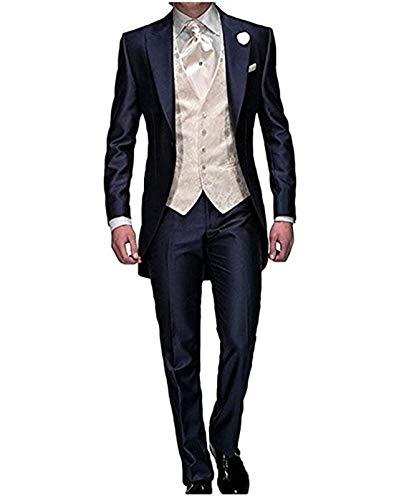 One Button Klassische Hosen-anzug (Herren Navy Blue One Button 3 Stück Party Smoking Hochzeitsanzüge Jacke Weste Hose)