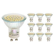 SEBSON® 10 x Ampoules LED 3.5W (remplace 30W) - Culot GU10 - Angle du faisceau 110° - Blanc chaud - 300lm