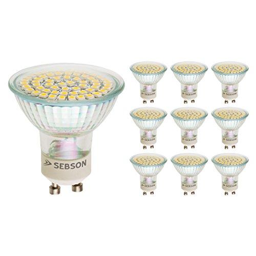 SEBSON 10 x GU10 LED lampara 3.5W 300lm (Calido Blanca 2900K -...