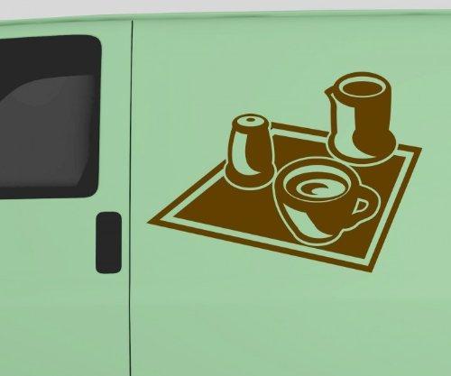 Auto Aufkleber Kaffee Kaffeeservice Coffee Autoaufkleber Sticker Tattoo 5Q635, Farbe:Gelb glanz;Breite vom Motiv:45cm
