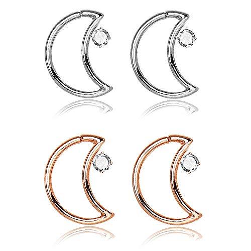 JJJ 4PCS-Nasen-Ring-Band-Nasen-Ring-Bolzen Piercings Hoop Schmuck Mit Mond-Nasen-Ring Kupfer Zircon Für Frauen-Mädchen-Piercing,A