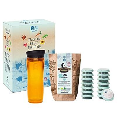Shuyao Tea to Go Théière avec infuseur intégré + 5 x 3 Loser Bio Thé avec caféine Orange 45 g