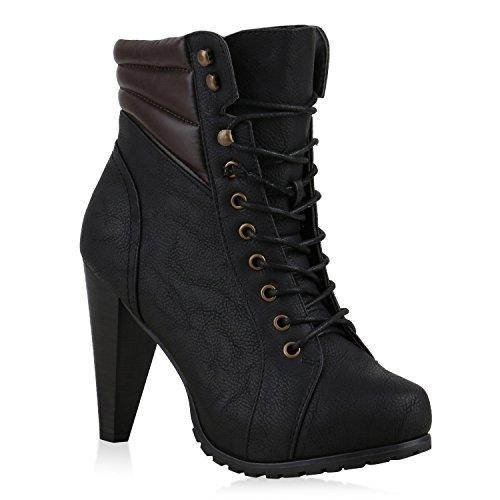 Plateau-Boots Damen Profil Sohle Stiefeletten Absatz Schuhe Schwarz