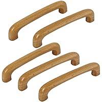 Sourcingmap–® Armario puerta de armario cajón Dresser distancia agujero 96mm pull mango de madera 5pcs