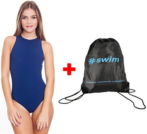 Aqua Speed Blanka Badeanzug mit Reißverschluß + Ultrapower Rucksack | Schwimmen | Sport | Wettkampf | Wettkampfanzug | Schwimmanzug, Größen Badeanzüge:40, Farbe:Blau