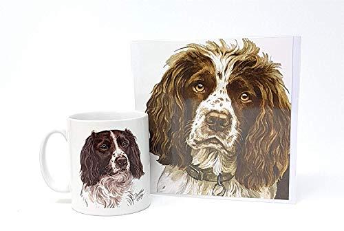 Ensemble 2 Pièces Springer Spaniel Dog Fabriqué en UK Céramique Tasse Pot Voeux Noël Anniversaire Carte