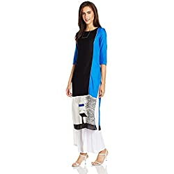 W for Woman Straight Kurta (17FE16761-11617_10_BLACK)