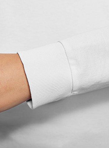 oodji Ultra Damen Baumwoll-Sweatshirt mit Strasssteinen Weiß (1062P)