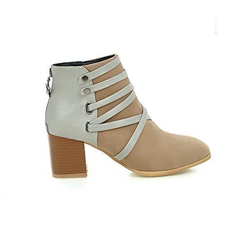 AllhqFashion Damen Mattglasbirne Quadratisch Zehe Stiefel mit Metall Nägel, Aprikosen Farbe, 38