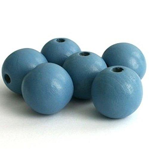 Sadingo Holzperlen Beads, Holzkugeln durchgebohrt - 20 Stück - 12 mm - Blau - Perlen Zum basteln