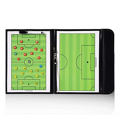 95street Fußball Taktiktafel Fußball Magnetische Coach-Board Taktikmappe Faltbare mit Stifte, Radiergummi, Magneten Fußball Trainingsgerät