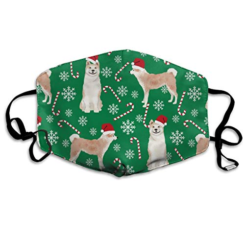Akita Dog Breed Peppermint Sticks Candy Canes Fabric Green Mask Mouth Mask Neck Gaiter Mask Bandana Balaclava Easter St. Patrick's Day - Schutz Cool Mint