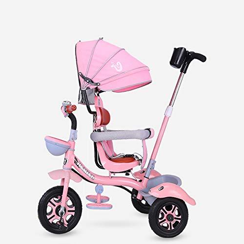 JINHH Triciclo Bambini, Trike Bike, Toys Triciclo Passeggino Pieghevole 3 in 1 con Maniglione Direzionabile E Cappottina Parasole per età 1-6 Anni, Pink