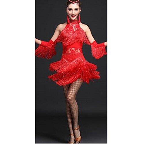 Salsa Kostüm - YOUMU Damen lateinisches Tanzkleid Salsa Tango Rumba Cha Cha mit Fransen Ballroom Tanzrock Kostüm, Damen, rot, L(EU S) / Suggest Weight: 47.5-55kg