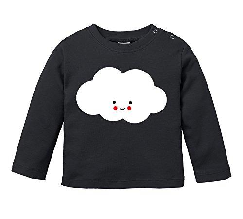 Knuffige niedliche Wolke mit Gesicht - Bio Baby Longssleeve (Shirt Long Nach Sleeve Unten Von Unten)