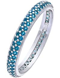 Citerna Rhodium Plated Silver Double Row Blue Cubic Zirconia Full Eternity Ring