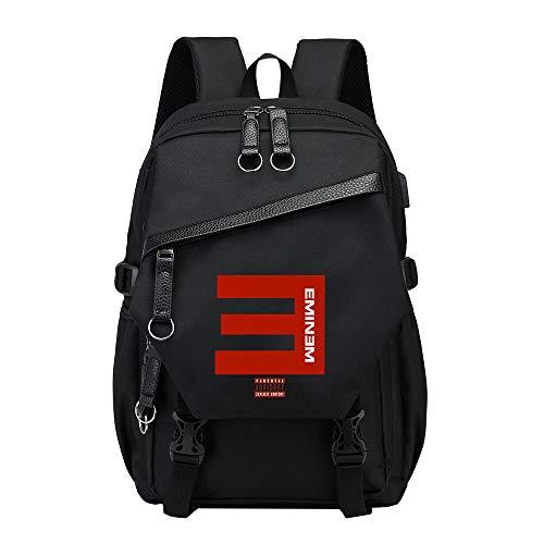 Eminem Schulrucksack Rucksack-Mann-Schultasche-Highschool Rucksack koreanische Gezeiten-Mehrfarbenrucksack (Color : Black06, Size : 30 X 17 X 41cm)
