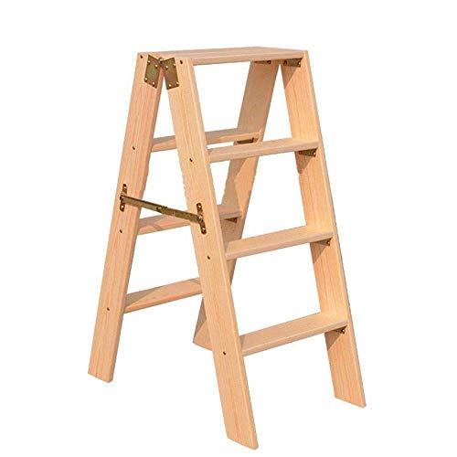 Trittleiter Holz Klappbar Massivholz Trittleiter 4 Stufen Leiter Multifunktionsplattform Leiter Haushalt Steigleiter Lang Verdickt Bühnenleiter Holztreppe Trittleiter -