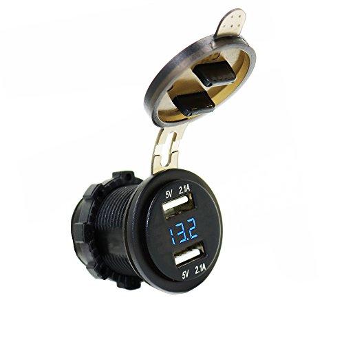 MOTOPOWER MP0611B 12–24 V 4.2 Amp Dual USB mit Voltmeter LED Digital Display Universal für Auto Boot Motorrad Wohnmobil-(Klassisch)
