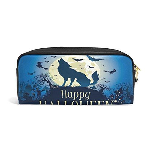 Domoko Halloween Wolf Fledermaus Nigt PU Leder Pen Pouch Federmappe Fall Make-Up Kosmetik reisen Schule Tasche