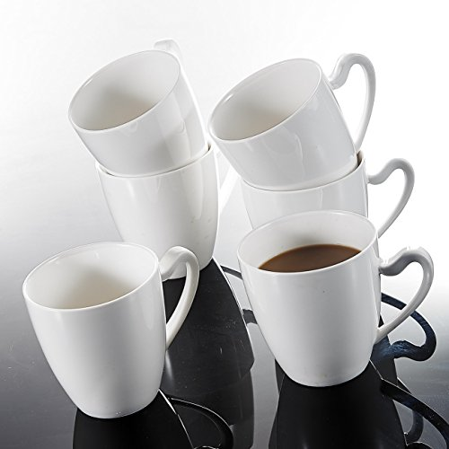 Malacasa, serie Elvira, Set di 6tazze di porcellana 12,5ml bianco avorio Cina Ceramica Bianco Panna tazze