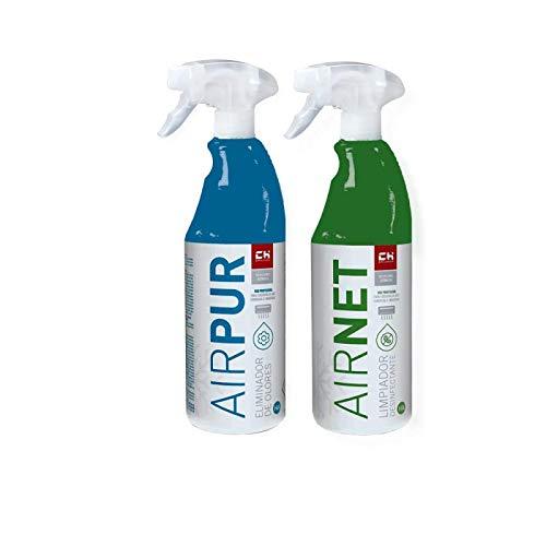 Chquimica Pack AIRNET + AIRPUR pulverizadores Limpiador y Elimina olores Aire Acondicionado 750 ml