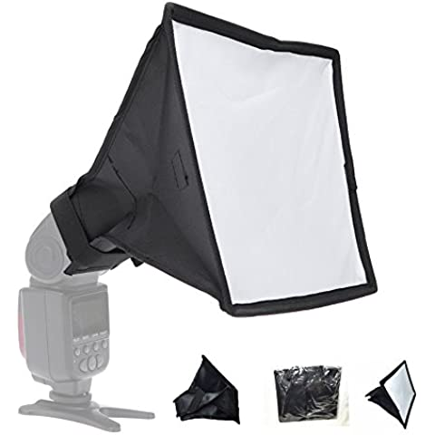 bestshoot Soft Box Flash (20,3 x 30,5 cm) e bianco/argento riflettore per Canon Nikon Yongnuo Neewer Godox Speedlite Flash e così via