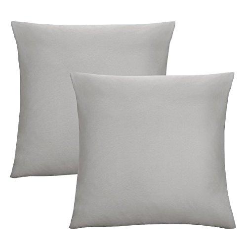 Biberna 0077144 Jersey-Kissenhüllen aus 100 % Baumwolle mit Reißverschluss, 2er-Pack, 40 x 40 cm Grau, 27 x 18 x 2 cm -