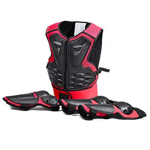 TZTED Schutz Körper Weste Rüstung (5-13 Jahre) Rüstung für Kinder Fahrradschutzanzug Sport Rüstung Knieschützer Ellenbogen,Red