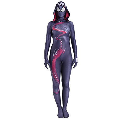 NDHSH Venom Frauen Spider-Man Cosplay Kostüm Kind Erwachsene Kostüm Overall Outfit Lycra Halloween Requisiten Kostüm Maskerade Party Geschenk,Child-S