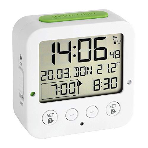 TFA Dostmann 60.2528.02 Bingo Funk-Wecker, mit autom. Hintergrundbeleuchtung, Datum, Temperaturanzeige und zwei Weckzeiten, weiß/grün