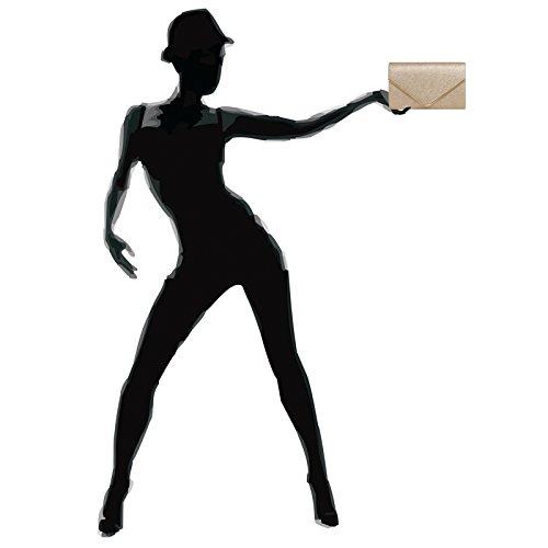 CASPAR TA365 elegante Envelope Glitzer Clutch Tasche / Abendtasche mit langer Kette Champagner
