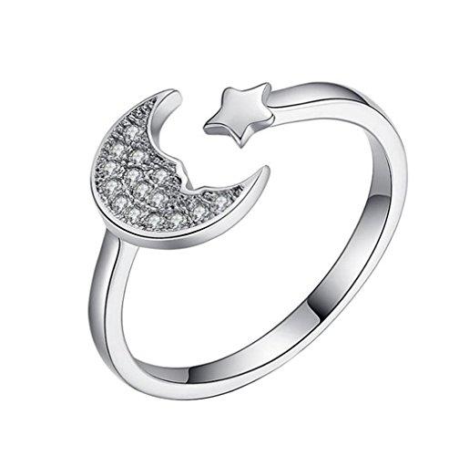Gespout Anelli da Donna alla Moda Argento Luna e Le Stelle Diamante Strass Anello Regolabile Apribile Fit Ragazza Feinile