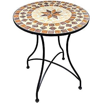 Salon de Jardin Mosaïque | Table Ronde (Ø/H: 60x70cm) et 2 Chaises ...