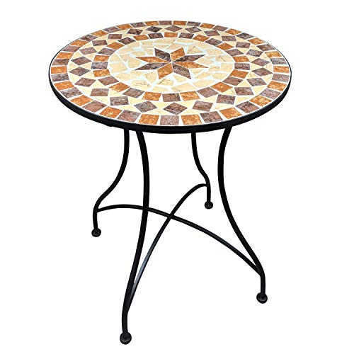 dszapaci Mosaik Gartentisch Balkontisch Rund 60 cm Mosaiktisch Mediterran Beistelltisch Mosaik runder Gartentisch