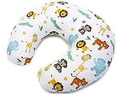 Idea Regalo - Niimo Cuscino allattamento Neonato + Federa 100% Cotone Sfoderabile e Lavabile con Zip a Scomparsa Facilita L'allattamento al seno o con il Biberon, Versatile (Giungla)