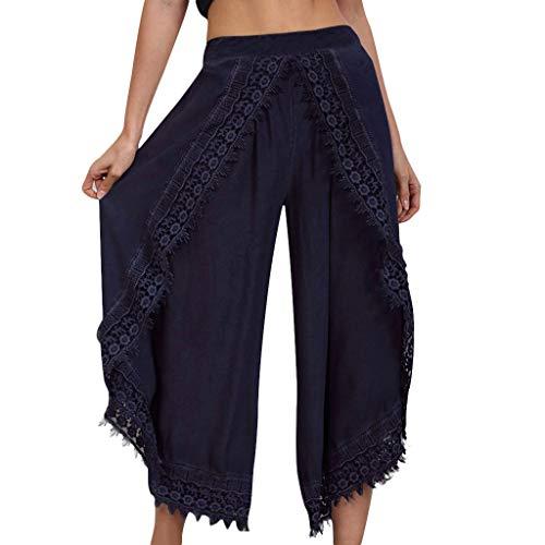 Cardith Damen Cropped Weite Hose Spitze Quaste Komfort Einfarbig Elastische Bundhose
