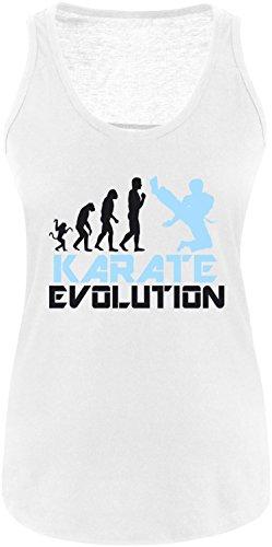 EZYshirt® Karate Evolution Damen Tanktop Weiss/Schwarz/Hellbl