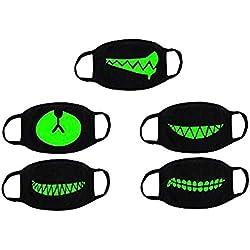 VORCOOL Unisex algodón Anti Polvo Cara Boca máscara Lavable Anti-Niebla máscara Filtro Earloop para Hombre Mujer Paquete de 5