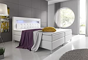boxspringbett monaco 180x200 cm kunstleder weiss k che haushalt. Black Bedroom Furniture Sets. Home Design Ideas