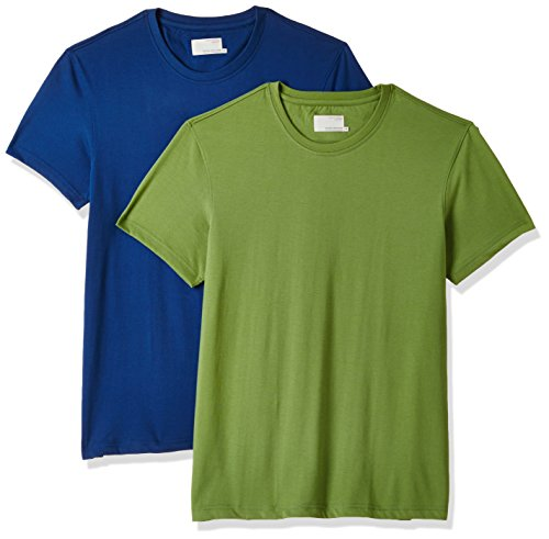 Peter England Men's Solid Slim Fit T-Shirt (EKC51610096_Mediumgreenwithblue_Medium) Pack of 2