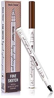 Liquid Eyebrow Pen,Tattoo 4 tips Fine Sketch, Microblade pen for eyebrows, Waterproof Long lasting Natural Bro