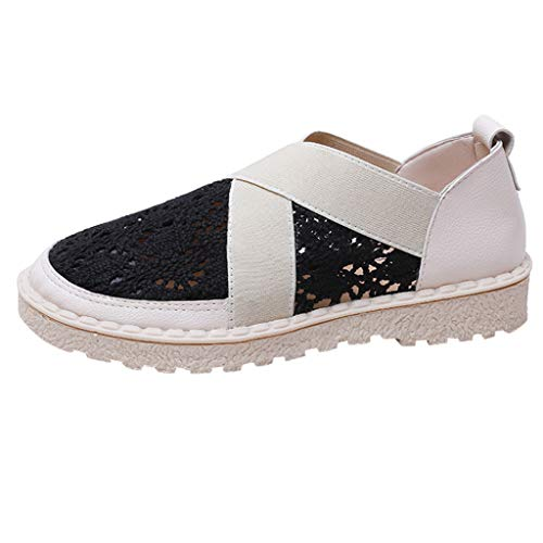 HLIYY Femmes Sneakers Maille Respirantes Chaussures Plates Baskets Couple Chaussures Chaussures de Running Sandales Simples en Dentelle Respirante Chaussures Paresseuses Plates