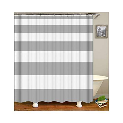 Abellale Badvorhang Anti-Schimmel Grau Streifen Duschvorhang Oriental Weiß 180x200CM (Grau Duschvorhang Streifen)