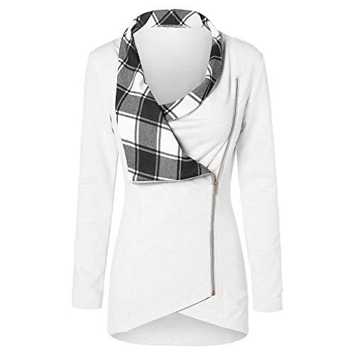 Yvelands Damen Langarmshirts T-Shirt Sweatshirt Langarm Plaid Ausschnitt mit kontrastfarbenem Tartan Pullover Top Zipper Bluse ()