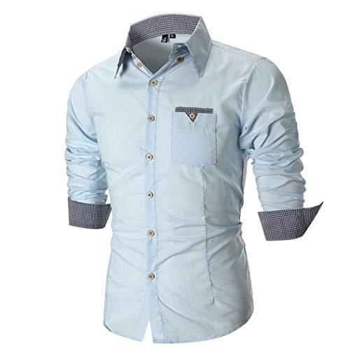 Yvelands Camisas abotonadas de la Moda del Asunto del otoño de los Hombres Mayores Camisa Delgada de la Camisa de Manga Larga Camisa a Cuadros de la Camisa Superior